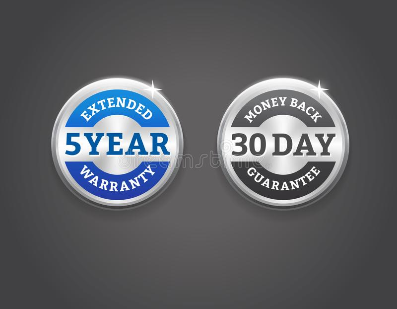 Distintivi dell'argento della garanzia posteriore ed estesa dei soldi illustrazione di stock