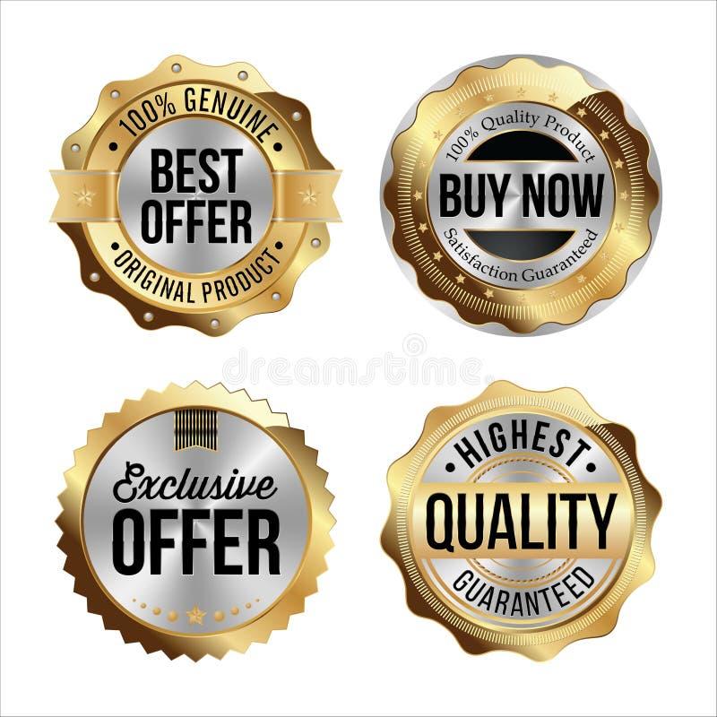 Distintivi dell'argento e dell'oro Un insieme di quattro La migliore offerta, ora compra, offerta esclusiva, più di alta qualità illustrazione vettoriale