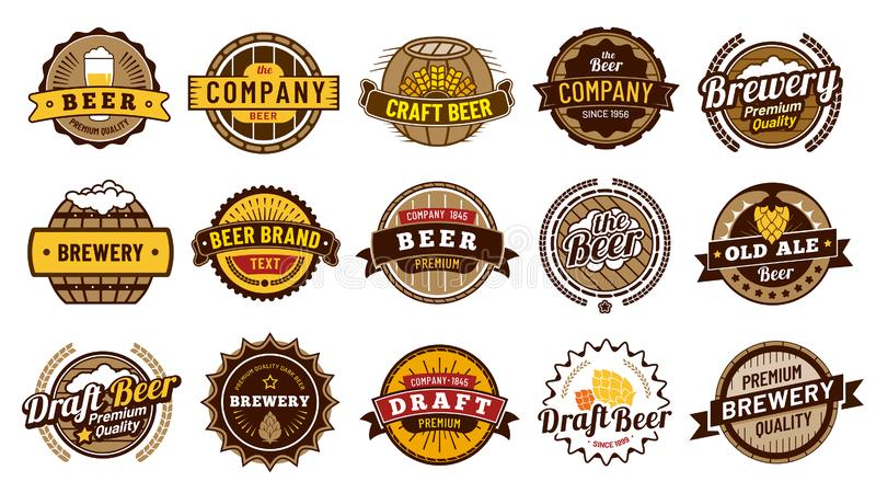Distintivi dell'etichetta della birra Retro fabbrica di birra delle birre, distintivo della bottiglia della lager ed insieme dell illustrazione vettoriale