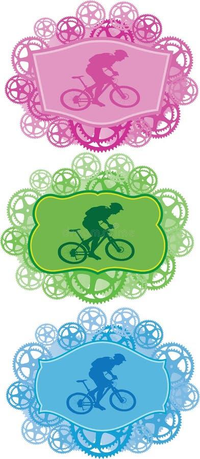 Distintivi della bici di montagna. royalty illustrazione gratis