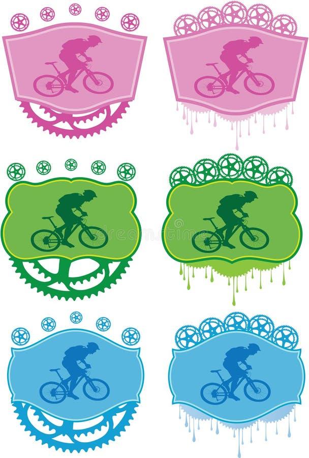 Distintivi della bici di montagna. illustrazione vettoriale