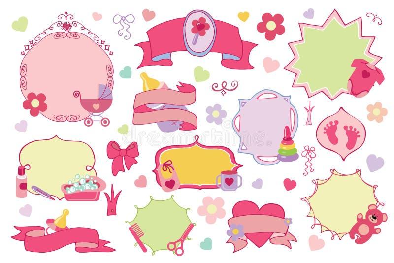 Distintivi della ragazza di neonato, insieme di etichette Acquazzone di bambino royalty illustrazione gratis