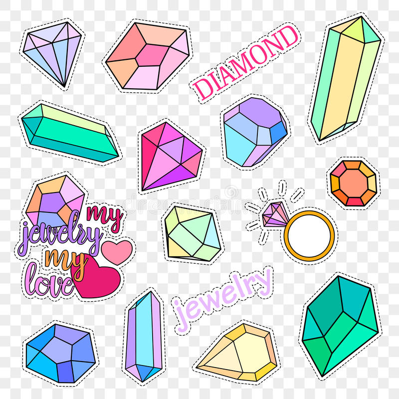 Distintivi della toppa di modo Diamanti ed insieme dei gioielli Gli autoadesivi, perni, rattoppa la raccolta scritta a mano delle illustrazione vettoriale