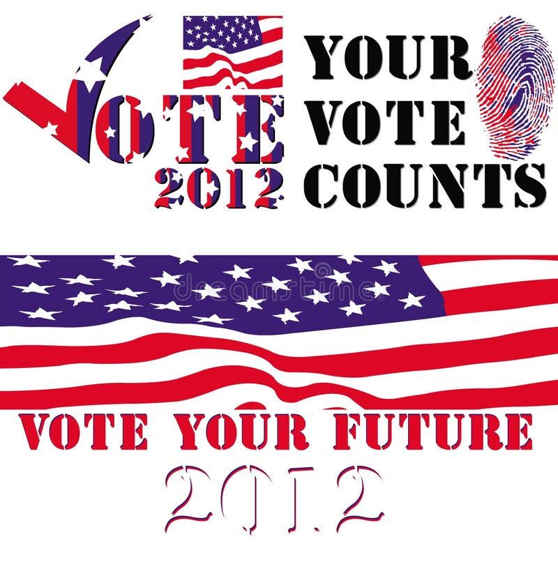 Distintivi di elezione 2012 royalty illustrazione gratis