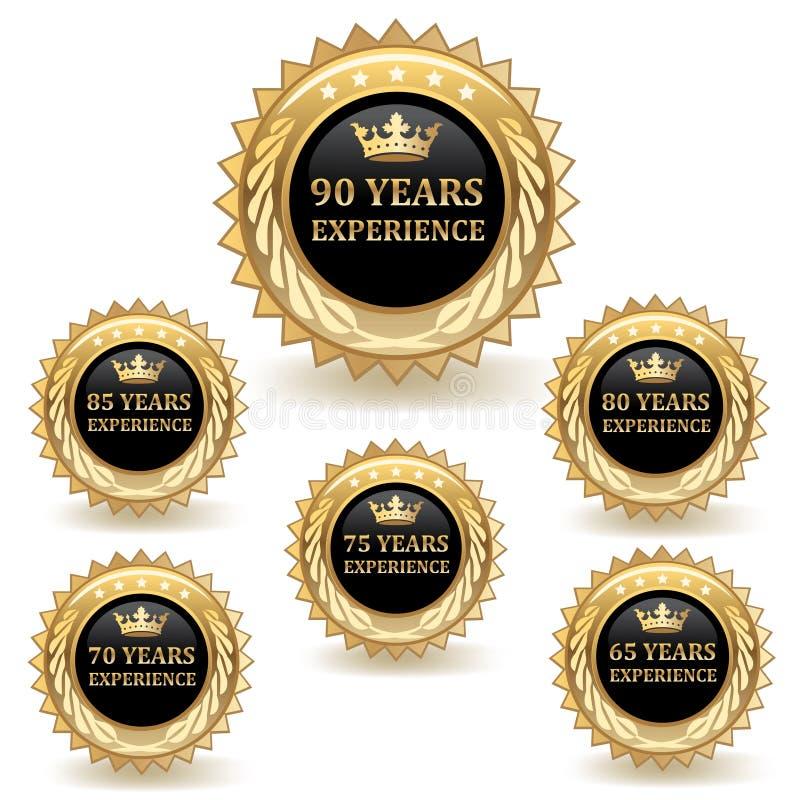 Distintivi di esperienza dell'oro royalty illustrazione gratis
