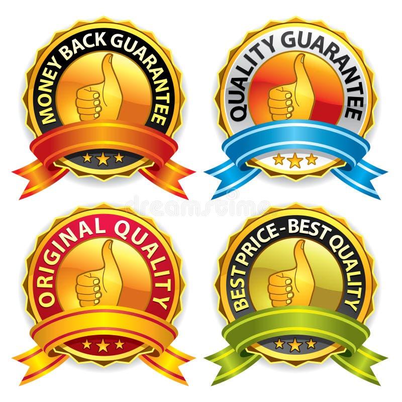 Distintivi di garanzia con il nastro royalty illustrazione gratis