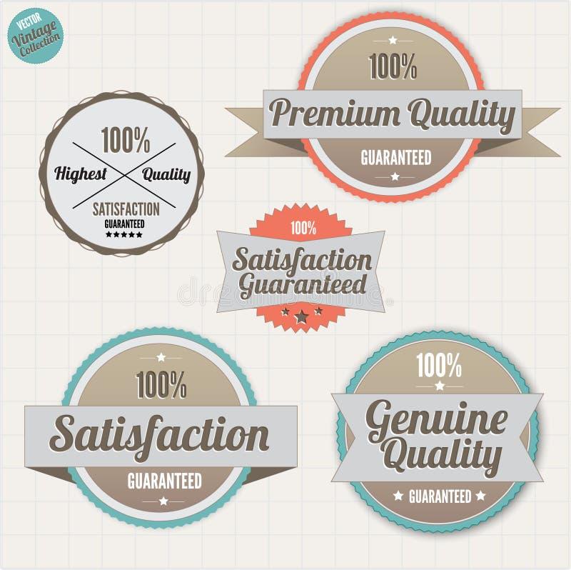 Distintivi di garanzia di soddisfazione e di qualità illustrazione vettoriale