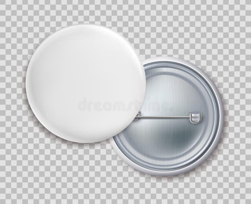 Distintivi di Pin Distintivo rotondo in bianco del bottone del metallo o modello isolato vettore della fibula su fondo trasparent royalty illustrazione gratis