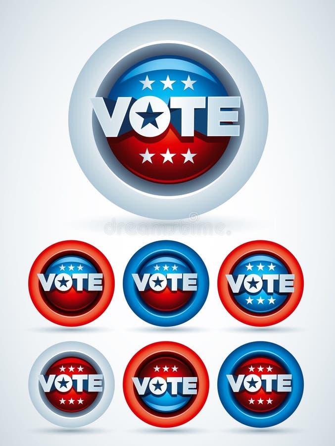 Distintivi di voto illustrazione vettoriale
