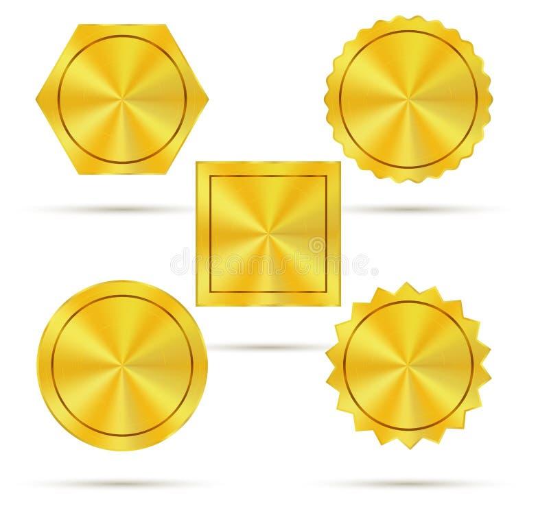 Distintivi dorati vuoti del metallo royalty illustrazione gratis