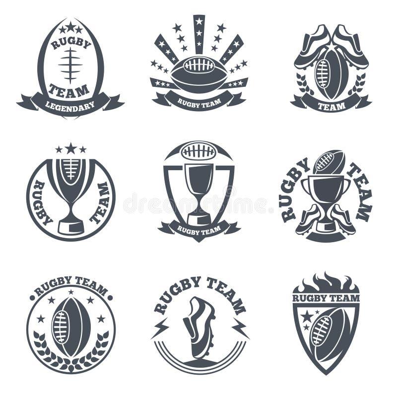 Distintivi e logos di vettore del gruppo di rugby illustrazione di stock