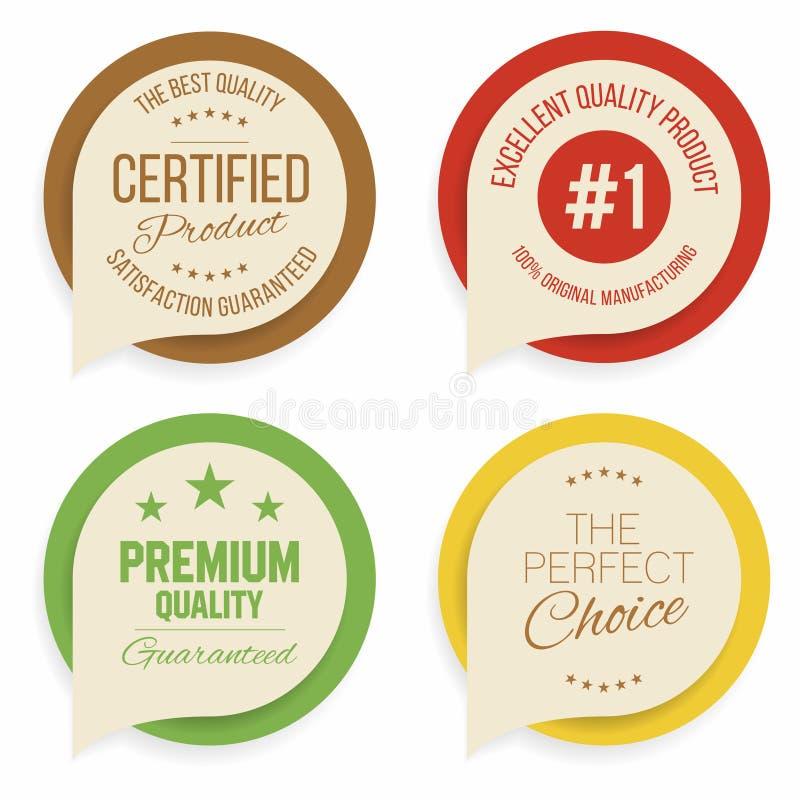 Distintivi e raccolta delle etichette Qualità, segni di assicurazione royalty illustrazione gratis
