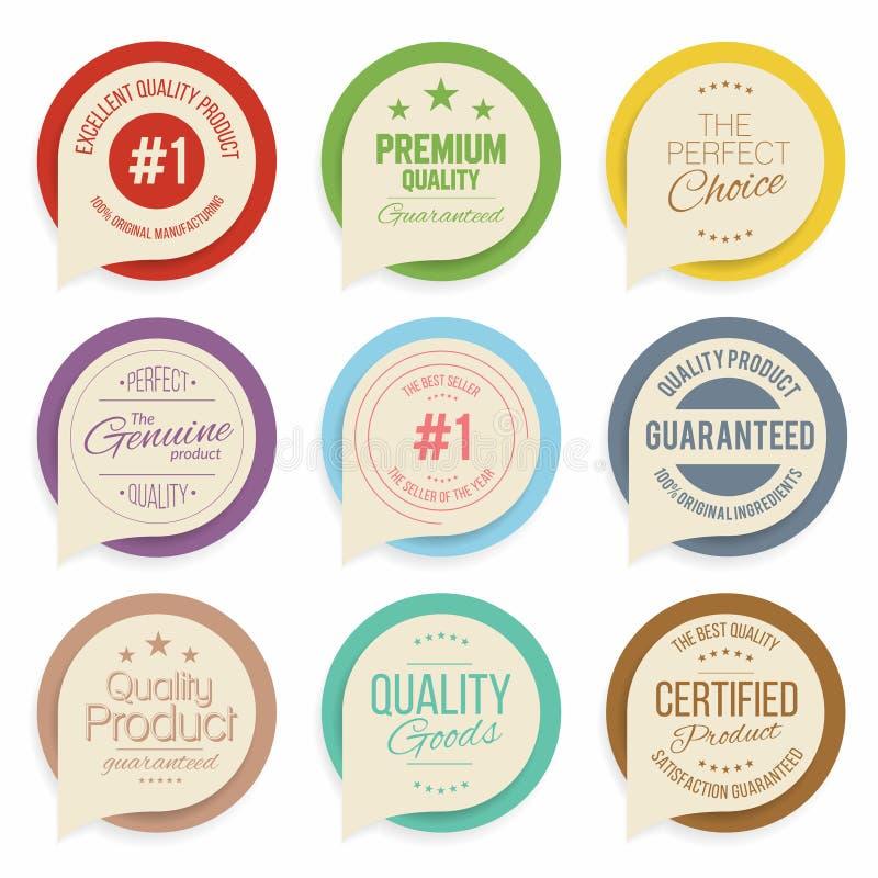 Distintivi e raccolta delle etichette Qualità, segni di assicurazione illustrazione vettoriale