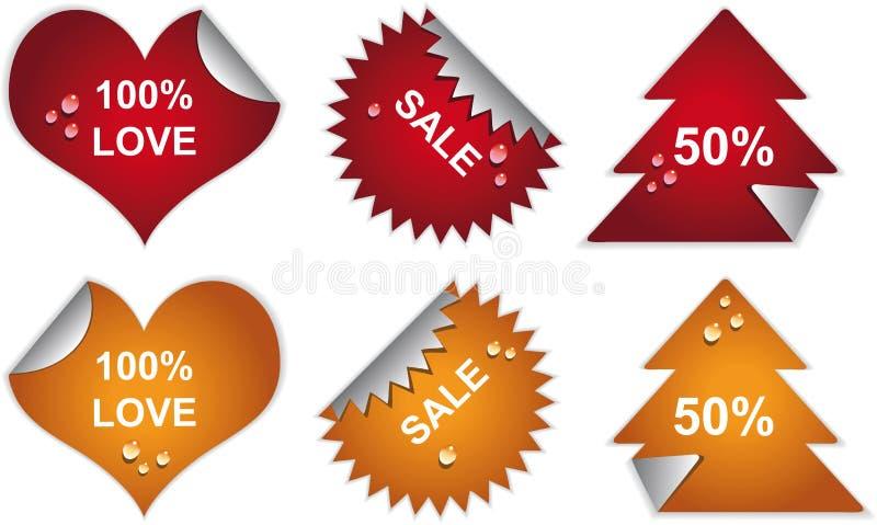 Distintivi ed autoadesivi dei contrassegni con le gocce. illustrazione di stock