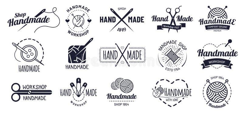 Distintivi fatti a mano Distintivo del mestiere dei pantaloni a vita bassa, etichette d'annata dell'officina e handcraft l'insiem illustrazione vettoriale