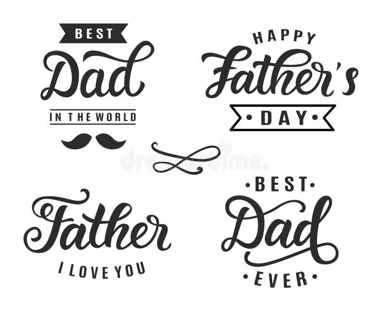 Distintivi felici dell'iscrizione della mano di saluto di festa del papà illustrazione vettoriale