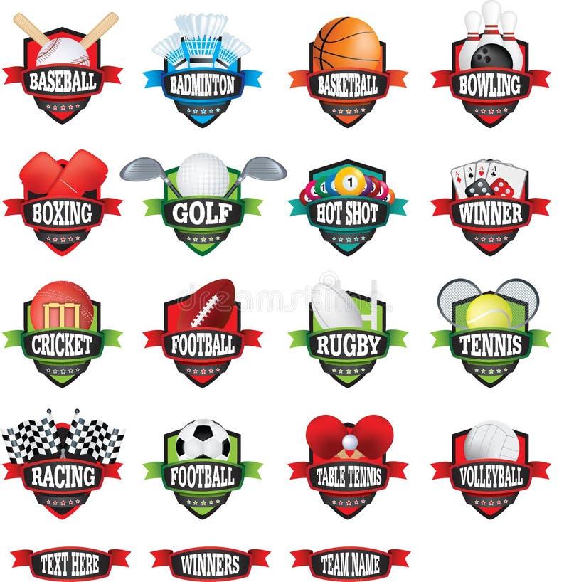 Distintivi o logos di nomi dei gruppi di sport come schermi a colori illustrazione vettoriale