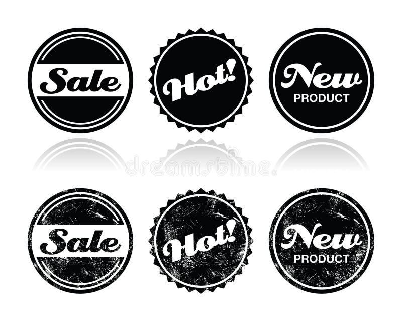 Distintivi retro di compera - vendita, nuovo, prodotto caldo royalty illustrazione gratis