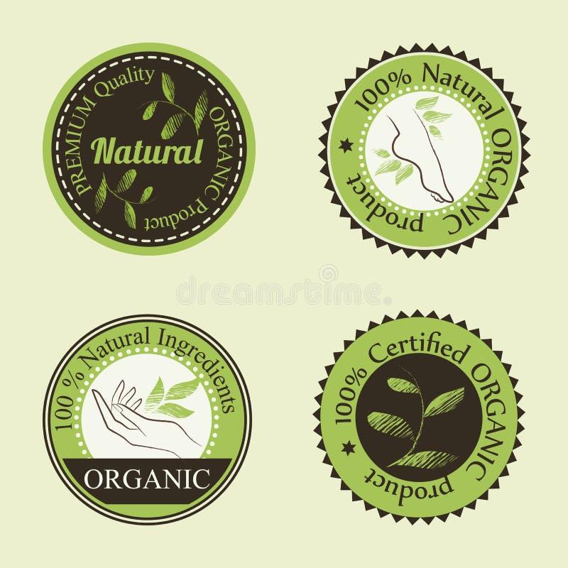 Distintivi rotondi dei cosmetici organici illustrazione vettoriale