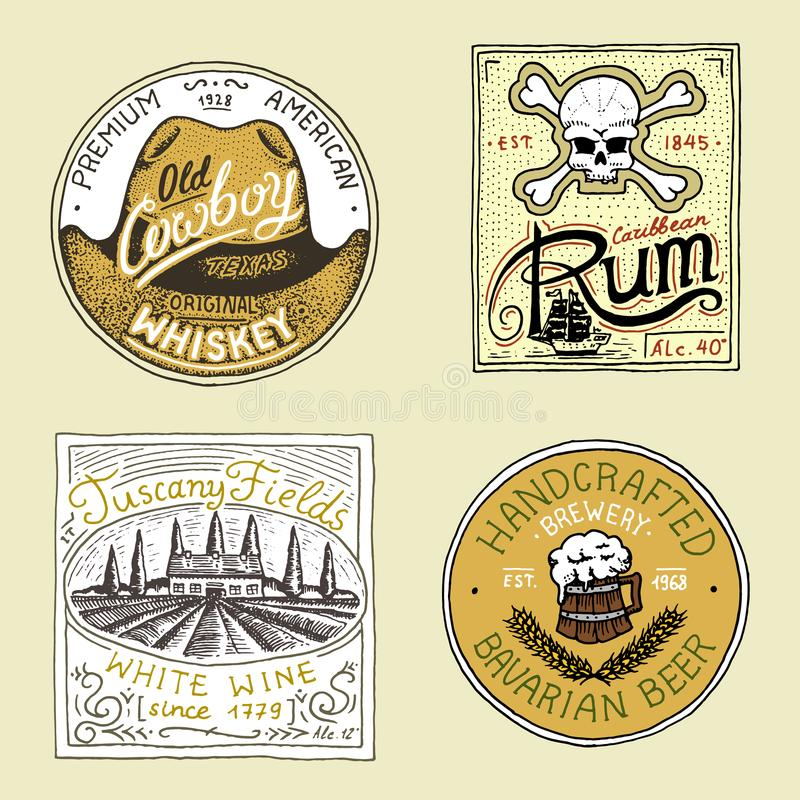 Distintivo americano d'annata della birra del whiskey del vino del rum Etichetta dell'alcool con gli elementi calligrafici Strutt illustrazione vettoriale