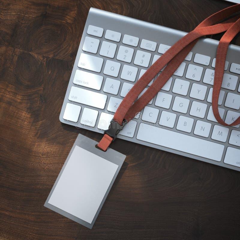 Distintivo in bianco con la burocrazia sulla tastiera rappresentazione 3d fotografia stock libera da diritti