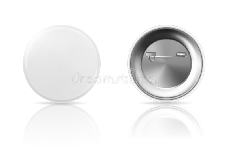 Distintivo in bianco del bottone con la riflessione, la parte anteriore e la vista posteriore illustrazione vettoriale