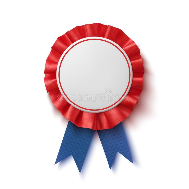Distintivo in bianco Realistico, blu ed etichetta rossa con il nastro illustrazione di stock