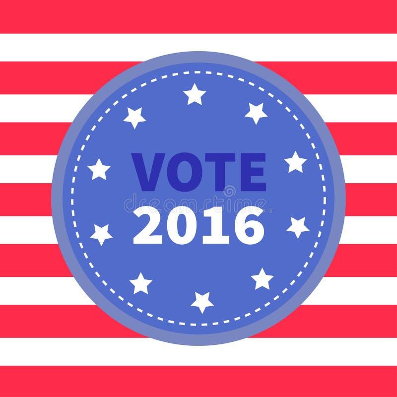 Distintivo blu con la linea bianca rossa a strisce fondo Icona del bottone del premio Giorno delle elezioni 2016 di presidente de royalty illustrazione gratis