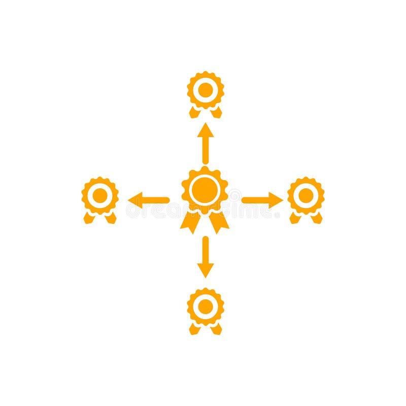 Distintivo, certificato, medaglia, qualità, ricompensa, placca del premio, nastro del premio Icona arancio del premio di colore illustrazione di stock