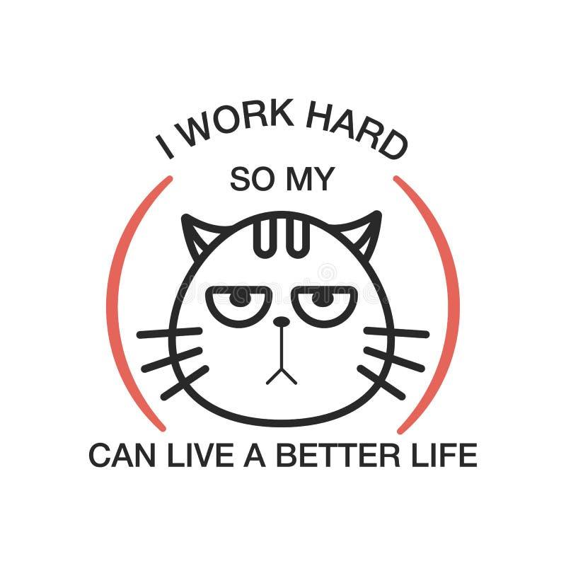 Distintivo che segna gatto con lettere Illustrazione di vettore illustrazione vettoriale