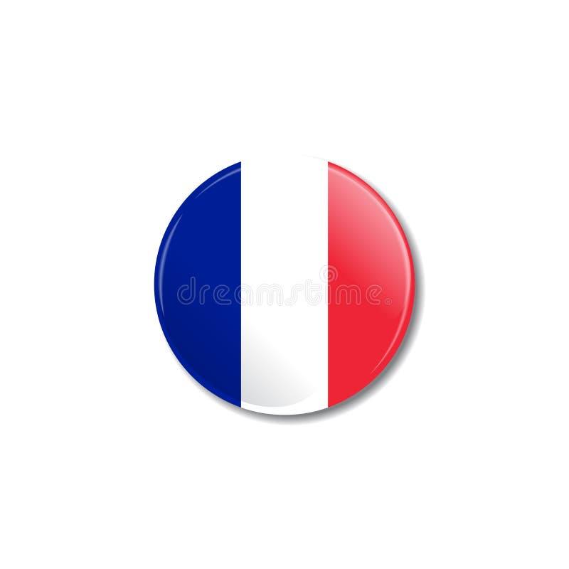 Distintivo con la bandiera del francese Illustrazione di vettore royalty illustrazione gratis