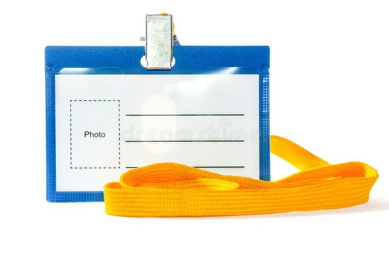 Distintivo con un nastro giallo fotografia stock libera da diritti