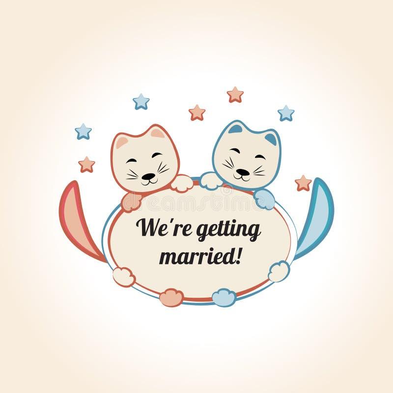 Distintivo d'annata di nozze con i gatti svegli Vettore illustrazione vettoriale