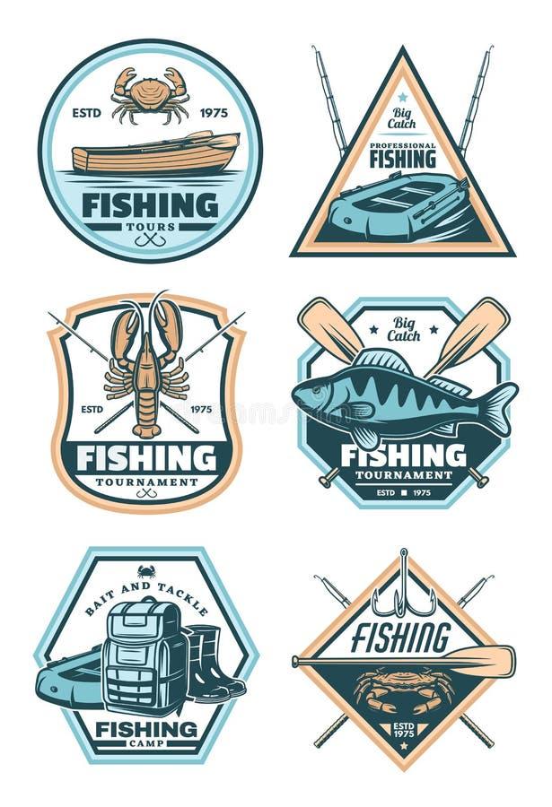 Distintivo d'annata di pesca con il pesce, la barretta ed il gancio royalty illustrazione gratis