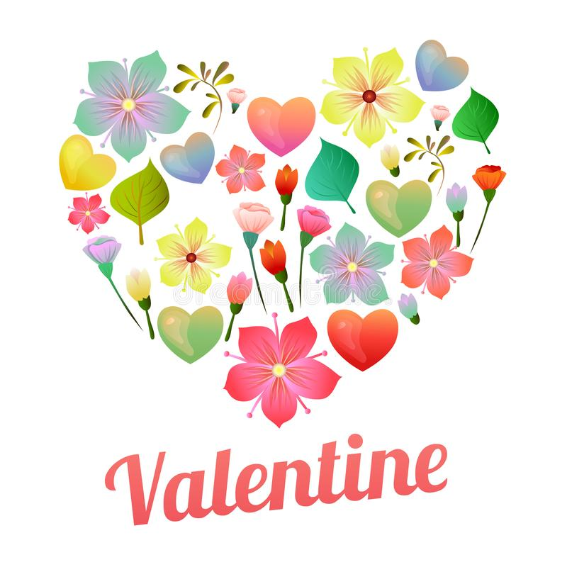 Distintivo del biglietto di S. Valentino con forma di amore ed il fiore molle royalty illustrazione gratis