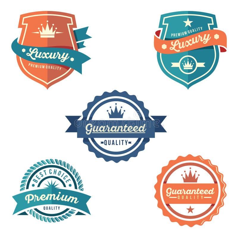 Distintivo del cerchio e dello schermo dell'insieme garantito qualità di lusso royalty illustrazione gratis