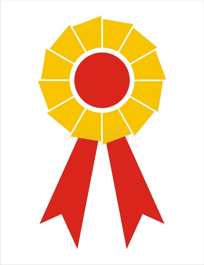 Distintivo del nastro del premio [Yellow+Red immagine stock libera da diritti