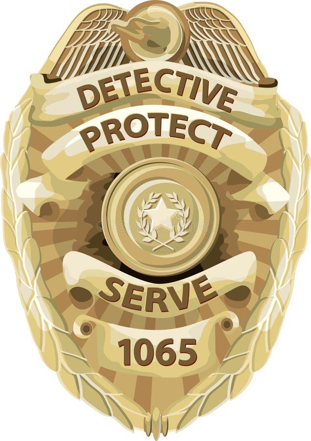 Distintivo dell'agente investigativo con il percorso di residuo della potatura meccanica illustrazione vettoriale
