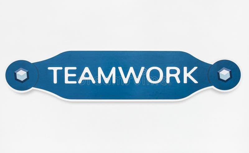 Distintivo dell'icona di lavoro di squadra isolato su bianco immagine stock libera da diritti