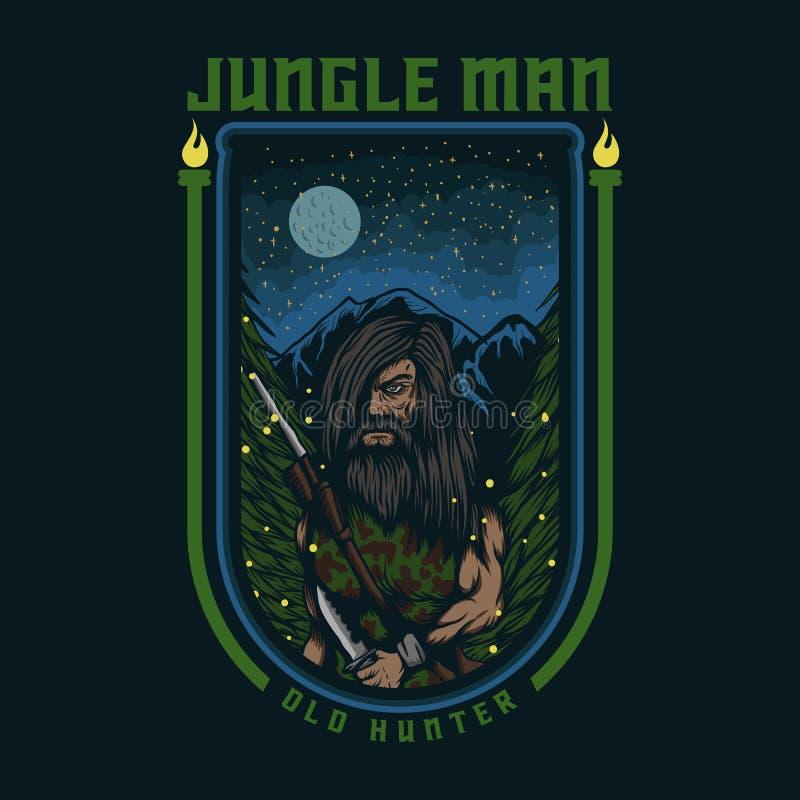 Distintivo dell'illustrazione di vettore del cacciatore dell'uomo della giungla vecchio illustrazione di stock