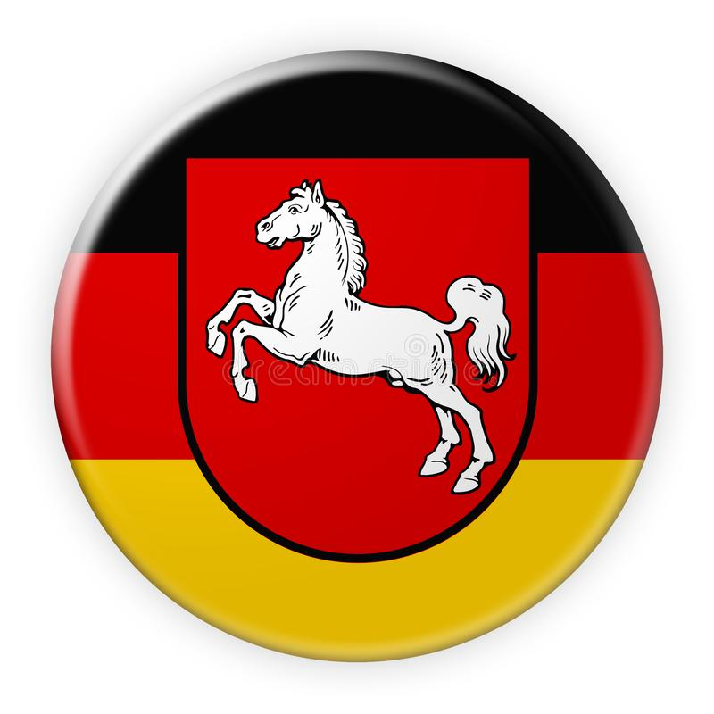 Distintivo della bandiera di Bassa Sassonia, illustrazione 3d su fondo bianco royalty illustrazione gratis