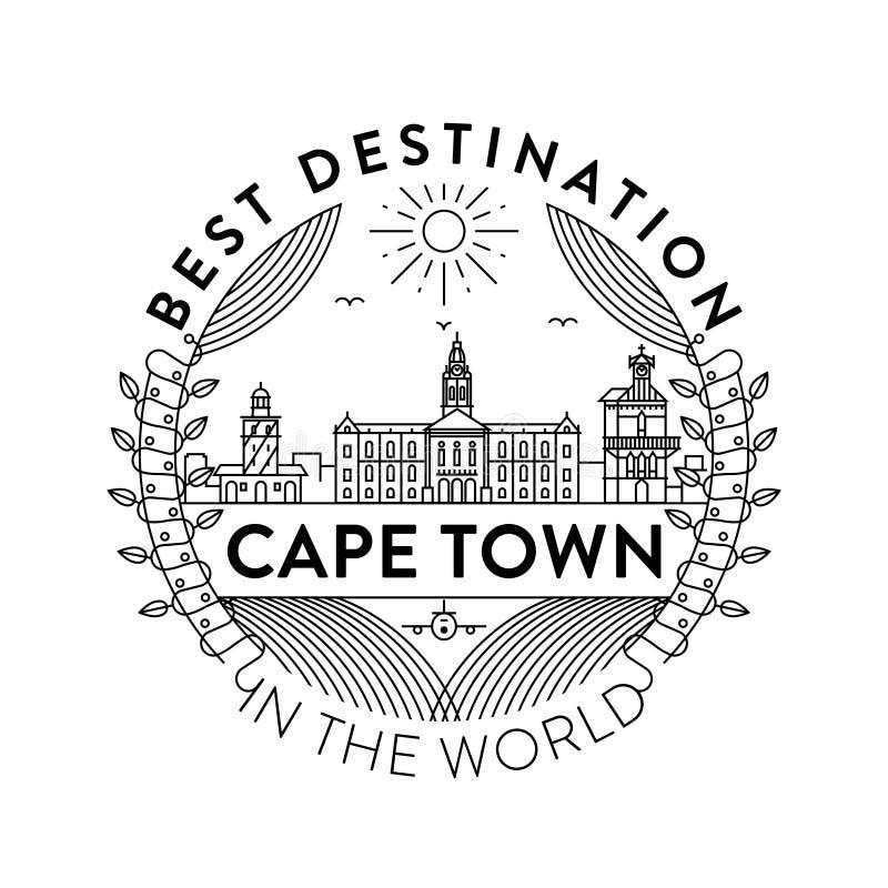 Distintivo della città di Cape Town di vettore, stile lineare illustrazione di stock