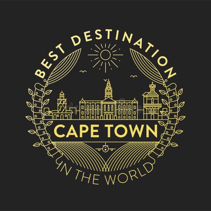 Distintivo della città di Cape Town di vettore, stile lineare royalty illustrazione gratis