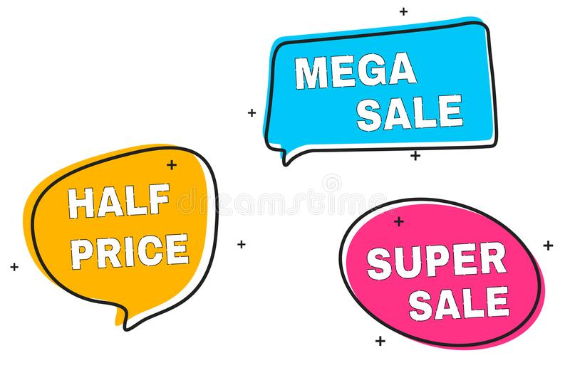 Distintivo della grande raccolta di vendita ed insegna lineari piani, prezzo da pagare, autoadesivo, emblema Vendita e sconti royalty illustrazione gratis