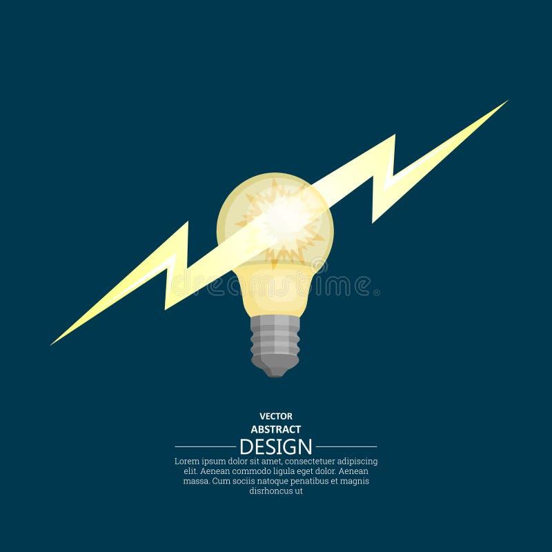 Distintivo della lampadina con il folgore royalty illustrazione gratis