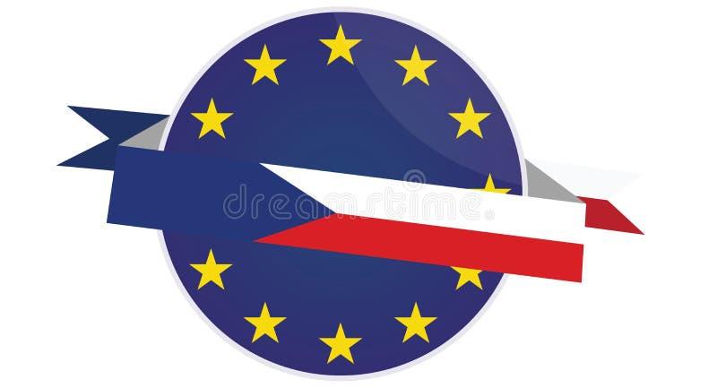 Distintivo della repubblica Ceca di vettore con la bandiera di Unione Europea fotografia stock libera da diritti