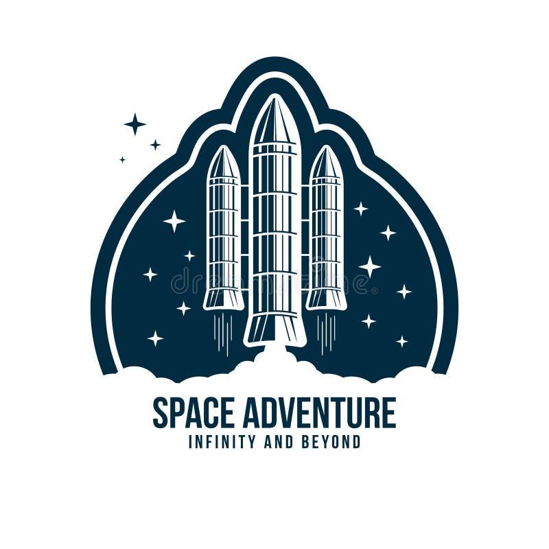 Distintivo dello spazio con il lancio del razzo Etichetta d'annata o toppa dell'astronauta per ricamo nel concetto dello spazio illustrazione di stock