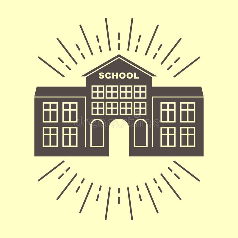 Distintivo di logo dell'edificio scolastico retro royalty illustrazione gratis