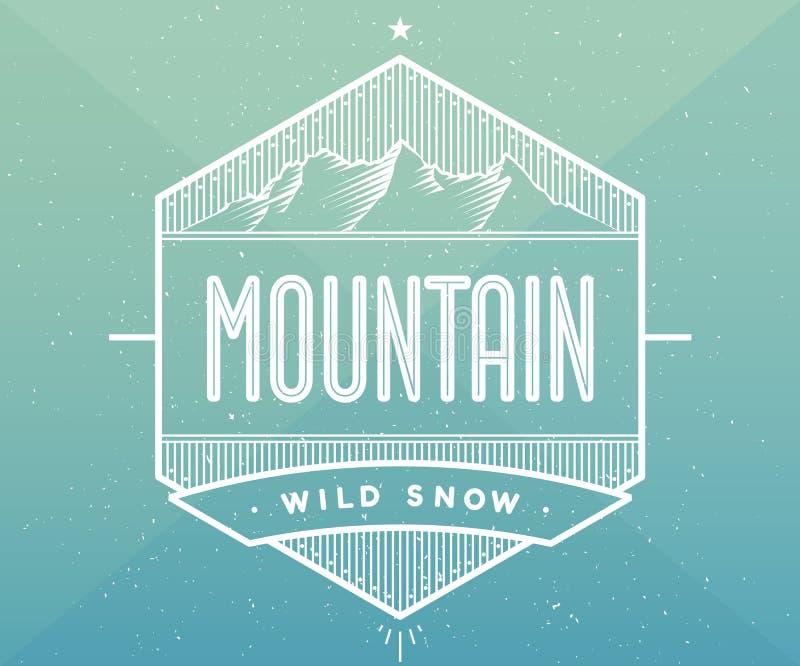 Distintivo di logo per il progetto di progettazione creativo Etichetta relativa al tema della montagna Illustrazione di vettore fotografia stock libera da diritti