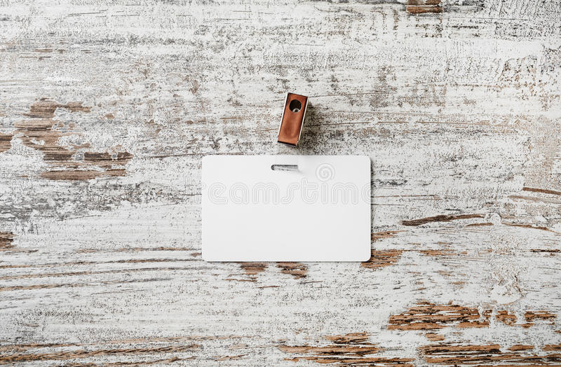 Distintivo di plastica in bianco fotografie stock